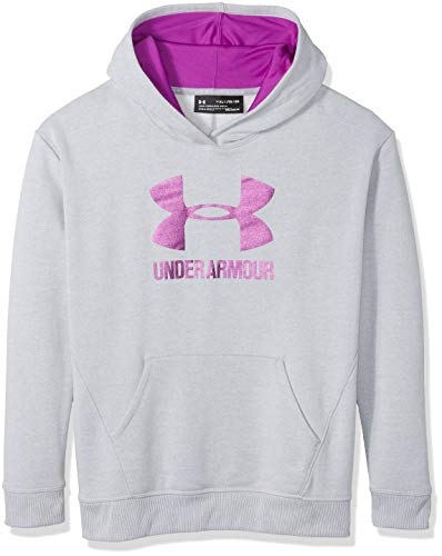 Under Armour Girls Threadborne Fleece Hoodie,Overcast Gray /Purple Rave, Youth Small by Under Armour (Image #1)