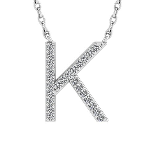 IGI Certified 10K White Gold Alphabet Initial Letter K Diamond Pendant Necklace (0.05 Carat) Diamond Initial Pendant Set