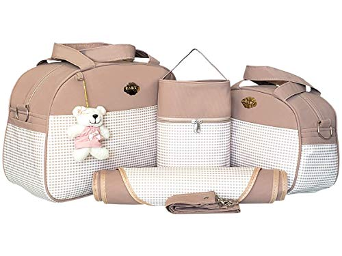 Kit de Bolsas Maternidade 04 Peças Estampa Xadrez Material Térmico Impermeável Cor: Creme