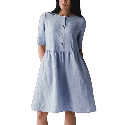 COOlCCI_2019 NEW ARRIVAL ✙COOlCCI✙ Soft Linen Pleated Cotton Loose Spring Summer Dress Plus Size Dress F122A Blue