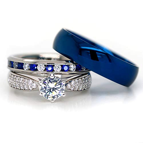 KingswayJewelry His and Hers 925 Sterling Silver Blue Saphire Stainless Steel Wedding Rings Set Blue #SP24BLMSBL (Size Men 11; Women ()