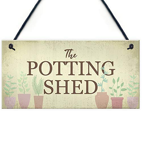 - Funny Wood Sign The Potting Shed Garden Greenhouse Dad Grandad Mum Nan Birthday Gift Decorative Sign Hand Painted Home Wooden Sign Plaque for Wall Room Door Sayings Decor