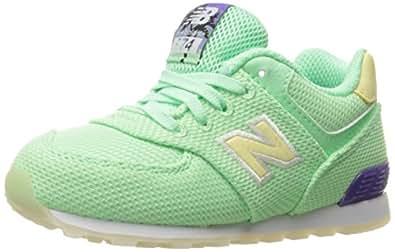 New Balance Girls' Kid's 574 Fashion Sneaker Miami Palms (Tod) Running Shoe, Green/White, 4 M US Toddler