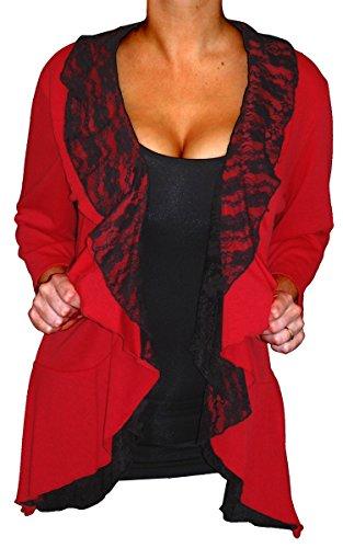 Funfash Plus Size Women Red Black Lace Cardigan Light Sweater Shrug Made in USA