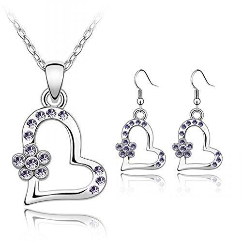 Coeur Violet &–Collier Femme–Pendentif fleur et boucles d'oreilles assorties # 154