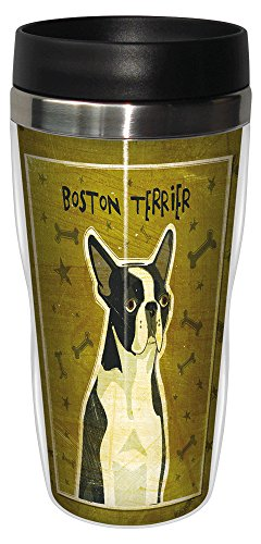 Tree-Free Greetings sg23980 Boston Terrier by John W. Golden 16-Ounce Sip 'N Go Stainless Steel Lined Travel Tumbler