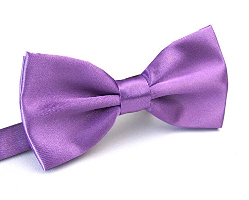 (Men's Pre Tied Bow Ties for Wedding Party Fancy Plain Adjustable Bowties Necktie (Light Purple))