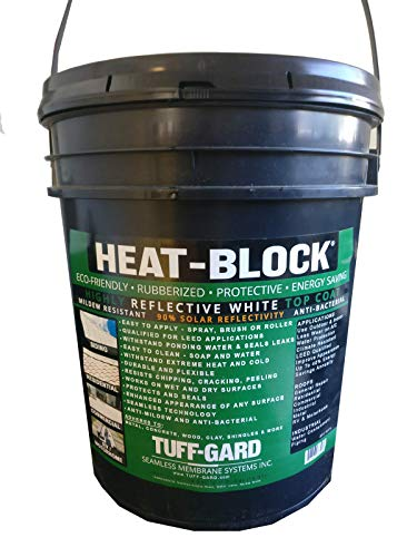 HEAT-BLOCK - 5 Gallon - Worlds Best - White Reflective Coating - WaterProof - Multi-Purpose - Cool Roof - RV Roof - Metal Roof - Flat Roof - Mobile Home - Clay - LEED Qualified - Easy to Apply -No VOC