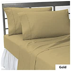 "3 Pcs Fitted Sheet Cal-King Size with 20"" Deep Pocket in New Gold color and Solid Pattern 100% Egyptian Cotton { 500 TC }"