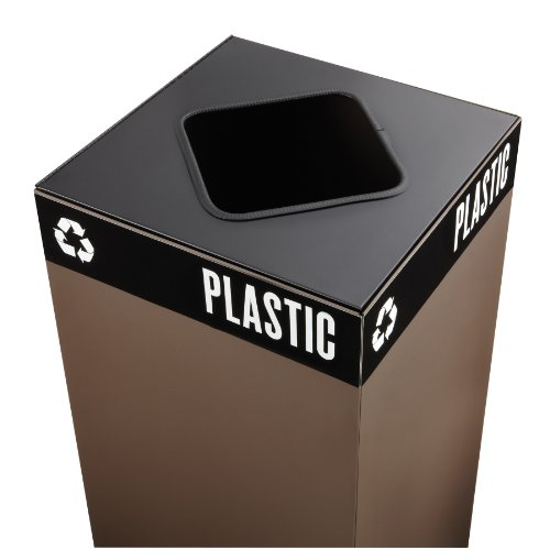 Safco Products 2989BL Public Square Recycling Trash Can Lid, Square Cutout for Plastic and (Base sold separately), (Safco Labels)