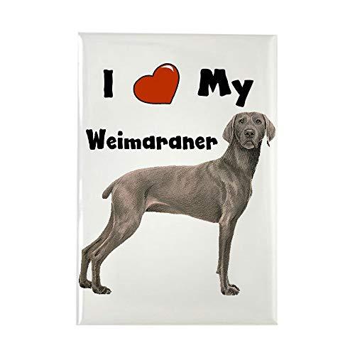 (CafePress I Love My Weimaraner Rectangle Magnet, 2