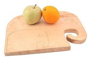 "Cutting Board Natural Wood Decorative Elephants Cute Design Size 10""x13""x1.2"" Inch 2LB"