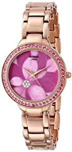 Armitron Women's 75/5184PMRG Swarovski Crystal Accented Pink Flower Dial Rose Gold-Tone Bracelet Watch