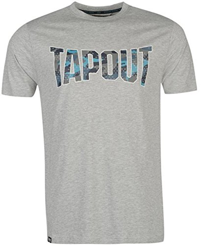 Mens Casual Large Camouflage Logo T Shirt Crew Top (Extra Large, Grey Marl) (Shirt Tapout T)