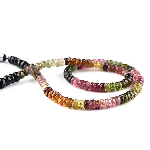 Jaguar Gems AA Grade Natural Multi Color Tourmaline Beads, Natural Faceted Rondelles Stones, Jewelry Making Crystals and Gemstones, Loose Beads, Handcrafted Beads Mini Mala