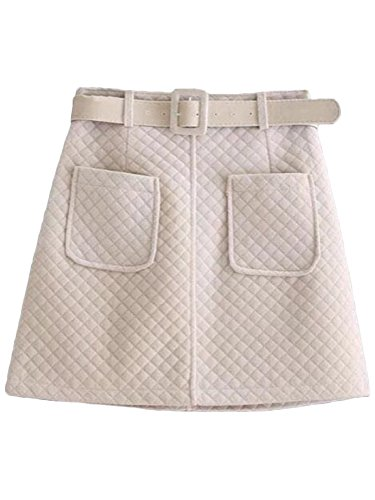 Goodnight Macaroon Stasia' Quilted Belted Skirt - Small (S) - White