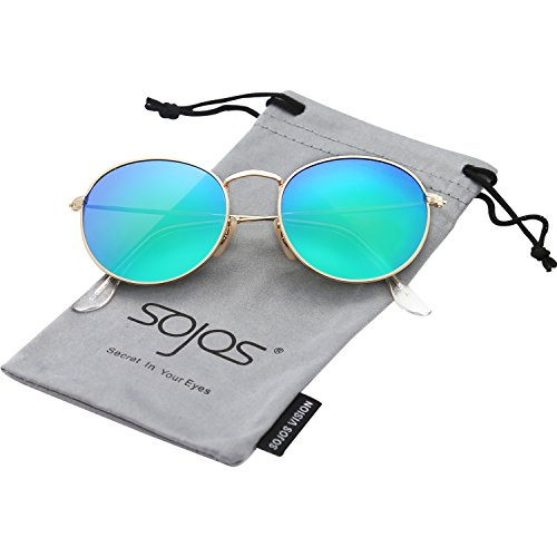 SojoS Small Round Polarized Sunglasses Mirrored Lens Unisex Glasses SJ1014 3447 With Gold Frame/Green Mirrored Lens (Sunglasses Round)