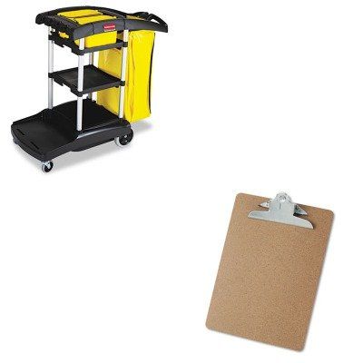 KITRCP9T7200BKUNV40304 - Value Kit - Black High-Capacity Cleaning Cart (RCP9T7200BK) and Universal 40304 Letter Size Clipboards (UNV40304)