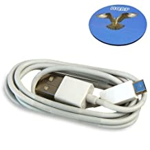 HQRP USB Charging Cable (White) for JBL Charge / Pulse Wireless Mobile Bluetooth Speaker, USB to micro USB Cable plus HQRP Coaster