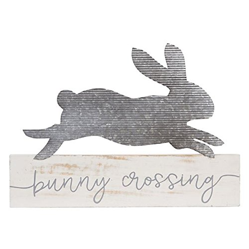 Mud Pie 14.5 Inches x 20 Inches Pie Bunny Crossing Plaque Tabletop Decor -