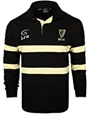 Ierland Harp Zwart & Crème Rugby Shirt met lange mouwen (S-XXXL)