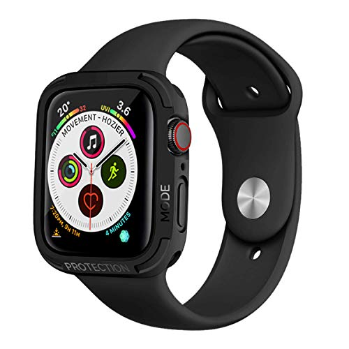 elkson Apple Watch 4 case 44mm iwatch Quattro Series Bumper Cases Protection Compatible with Apple Watch Durable Military Grade Black TPU Flexible Shock Proof Resist - 44mm Stealth Black ()