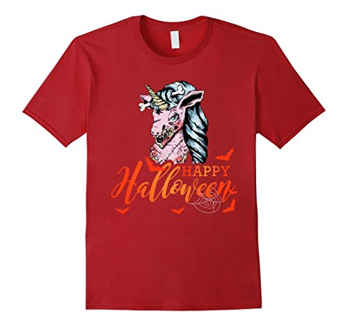 Mens Halloween Scary Unicorn Bloody Novelty T-Shirt Gift 2XL Cranberry