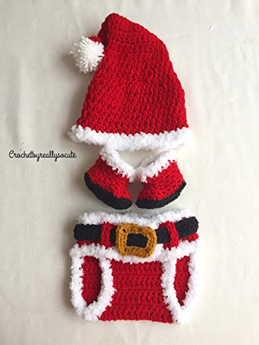 (Christmas Diaper Set, santa baby set, Santa Costume, Newborn Outfit, Santa Diaper Set~ Christmas Outfit~ Red Diaper Set~ Baby Shower Gift,santa baby booties)