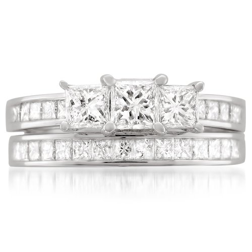 14k White Gold Princess-cut 3 Three-Stone Diamond Bridal Set Ring (2 cttw, H-I, I1-I2) by La4ve Diamonds (Image #2)