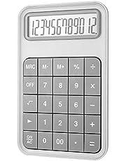 EooCoo Rekenmachine Basis,12-cijferige LCD met groot display, Batterij aangedreven voor School, Kantoor, Thuis en Teller, Grijs