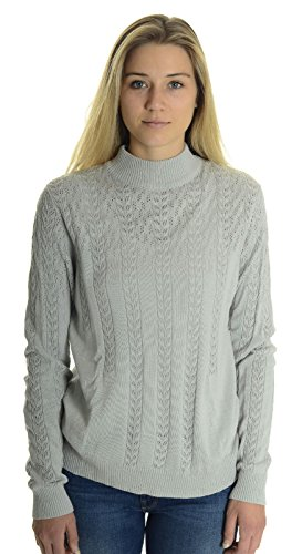 Click Collection Women's Pointelle Knit Mock Turtleneck Sweater in Pale Grey, X-Large ()