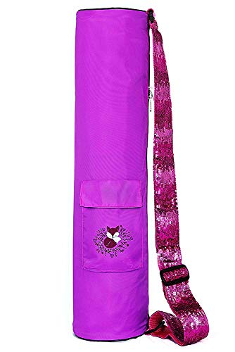 Fox Hill Fitness Yoga Mat Bag for Kids and Women, Full Zip Sling Carrier with Pockets   Adjustable Sequin Strap (Pink)