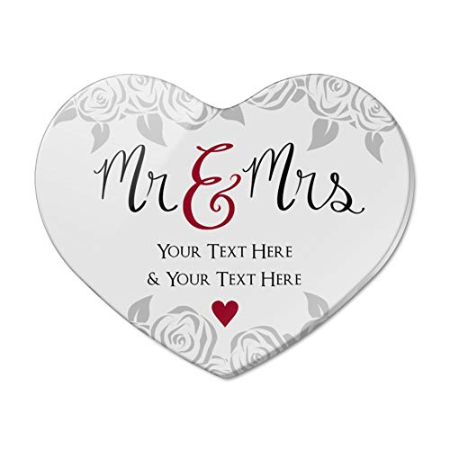 Personalized Custom 2 Lines Mr and Mrs Wedding Heart Acrylic Fridge Refrigerator -