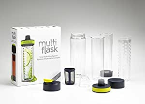 Multi Flask Hydration System 6-in-1 Revolutionary Water Bottle Drink System for all Beverage Types - Designed in Canada by Precidio Design