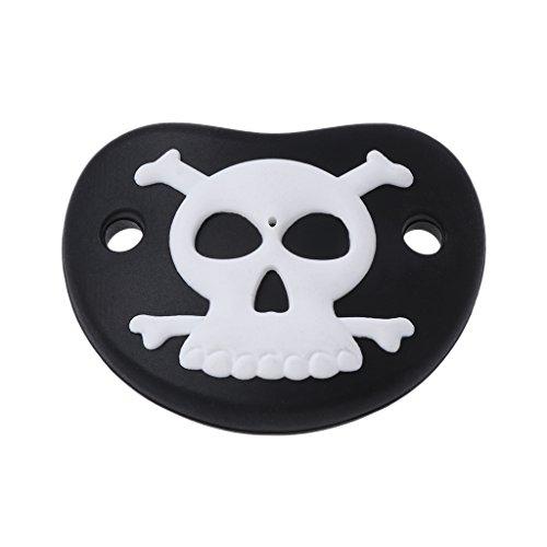 Yuuups Baby Pacifier, 1 Pack (Little Vampire, Lil Pumpkin, Skull) (Black Pirate -