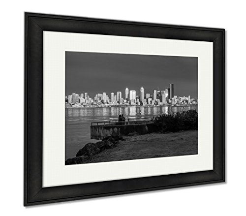 Ashley Framed Prints As The Sun Sets The Buildings Of The Seattle Skyline Are Reflected In Elliott, Modern Room Accent Piece, Black/White, 34x40 (frame size), Black Frame, AG6240988 (Sunset Skyline Seattle Reflections)
