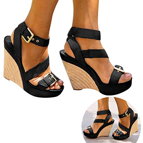Woman Roman Retro Wedged Sandals Ankle Strap Buckle Open Toe Vintage High Water Platform Sandals Slingback Beach Shoes (Black, 8 M US)