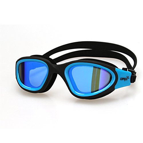Little Cherry Swimming Goggles No Leaking Anti Fog UV Protection Mirrored Lens,Easy Adjustable Large Frame Swim glasses with Case (blue)