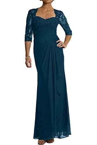 Brautmutterkleider Festlichkleider Blau Abendkleider 3 Partykleider Langarm Traumhaft Ballkleider Braut Tinte Chiffon Spitze mia mit 4 La q4AHFF