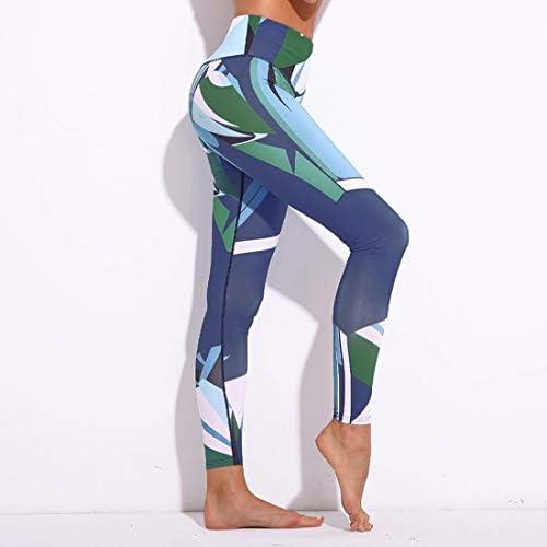 ヨガウェア ヨガパンツダークブルーデジタル印刷スポーツ女性のフィットネスハイウエスト速乾性ランニングパンツおなかコントロールパワーストレッチヨガレギンス