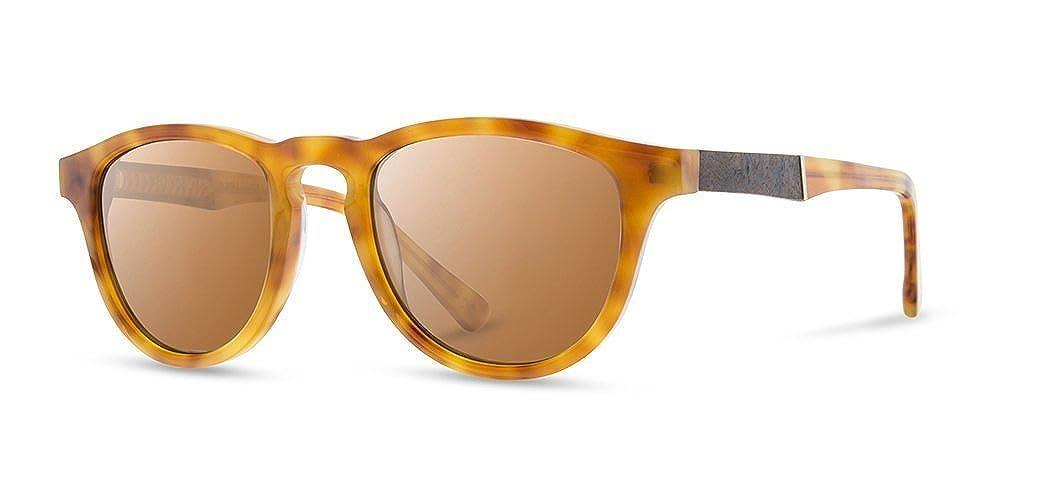 7e8db6de4d Amazon.com  Shwood - Francis Round Acetate   Wood Sunglasses - Amber     Elm  Clothing