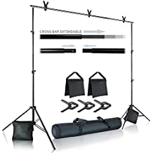 Julius Studio Photo Video Studio 10 ft. Wide Cross Bar 7.4 ft. Tall Background Stand Backdrop Support System Kit with Carry Bag, Photography Studio, JSAG283