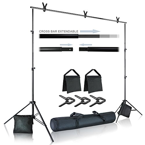 Julius Studio Photo Video Studio 10 ft. Wide Cross Bar 7 ft. Tall Background Stand Backdrop Support System Kit with Carry Bag, Photography Studio, JSAG283
