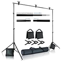 Julius Studio Photo Video Studio 10 ft. Wide Cross Bar 7.4 ft. Tall Backgroun...
