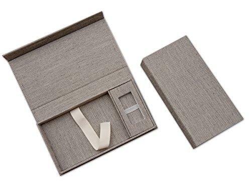 Sans Cl/é USB Tissu en lin gris Mariage USB aubewarungs Bo/îte avec photo Box