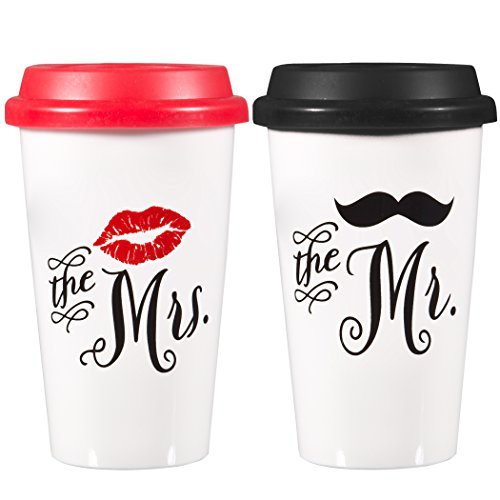 Ceramic Coffee tumbler set Traveler Insulated Mr. & Mrs. Mugs ~ 12 Oz. Double Wall Construction Insulation ~ Red & Black Silicone Lid