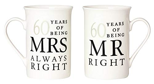 Ivory 60th Anniversary Mr Right & Mrs Always Right Mug Gift Set by Haysoms