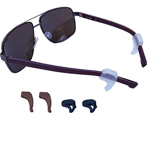Medipaq® Lot de 6 crochets d'oreilles supports antidérapants pour lunettes 2xClear 2xBlack 2xBrown