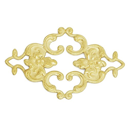 50PCS 3623MM Brass Hollow Filigree Flower Wraps Connectors, Filigree Flower Rhombus Connectors Links, Raw ()