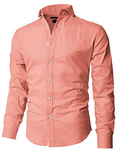 H2H Men's Big and Tall Non Iron Tall Fit Check Spread Collar Dress Shirt Pink US M/Asia M (KMTSTL0545)